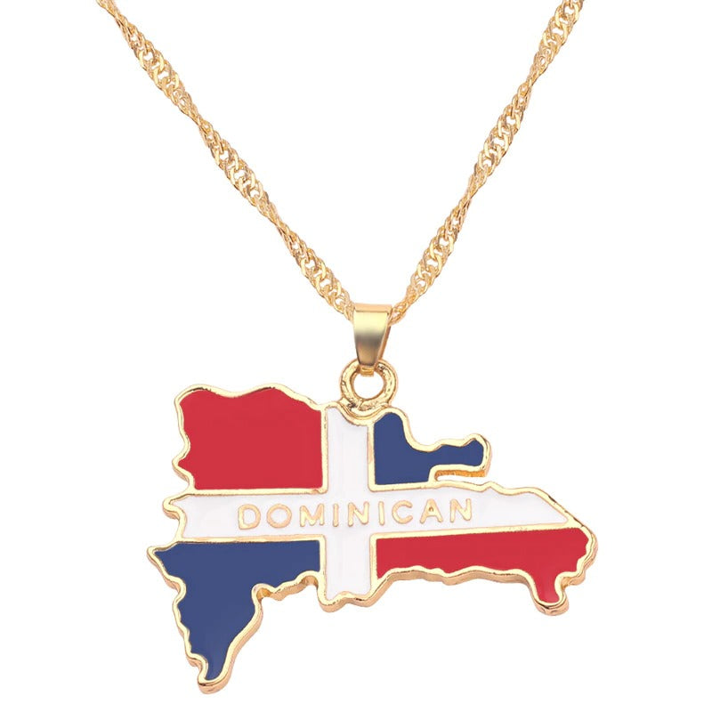 Dominican Flag Map Necklaces