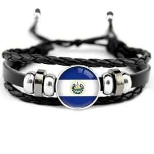 El Salvador Flag Leather Bracelets