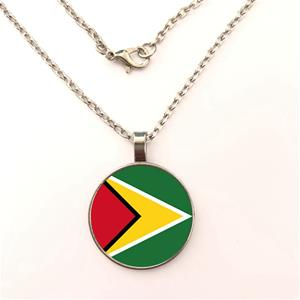 Guyana Flag Round Necklaces