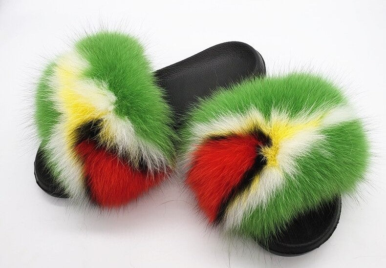 Guyana Fox Fur Slippers