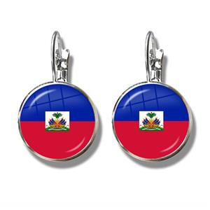 Haiti Flag Clip Earrings