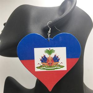 Haiti Flag Heart Earrings