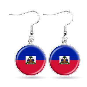 Haiti Flag Hook Earrings