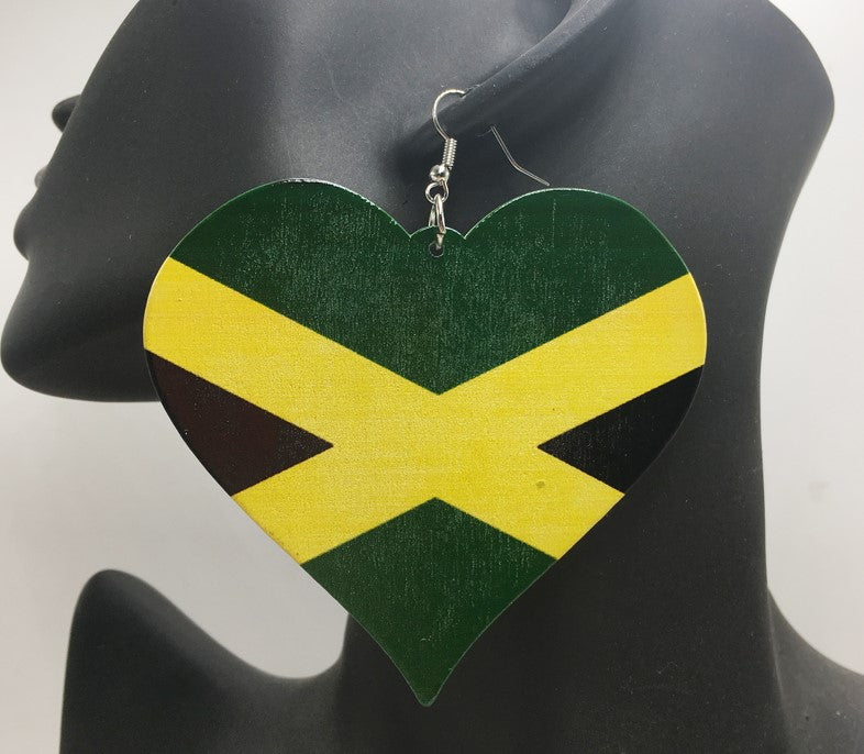 Jamaica Flag Heart Earrings