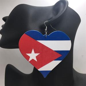 Puerto Rico Flag Heart Earrings