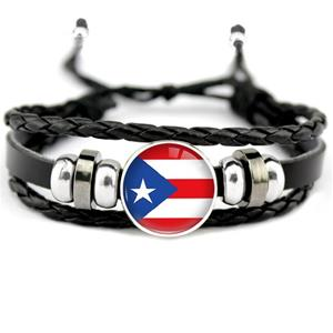Puerto Rico Flag Leather Bracelets