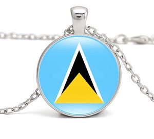 St Lucia Flag Round Necklaces
