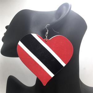 Trinidad & Tobago Flag Heart Earrings