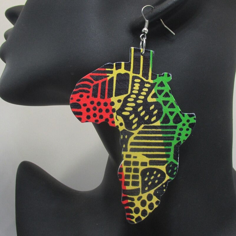 Rasta Africa Map Earrings