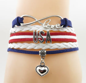 United States Love Heart Bracelets