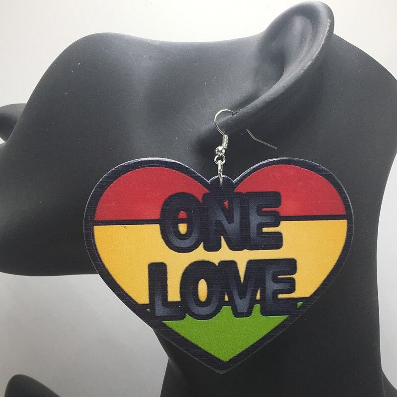 Rasta One Love Earrings