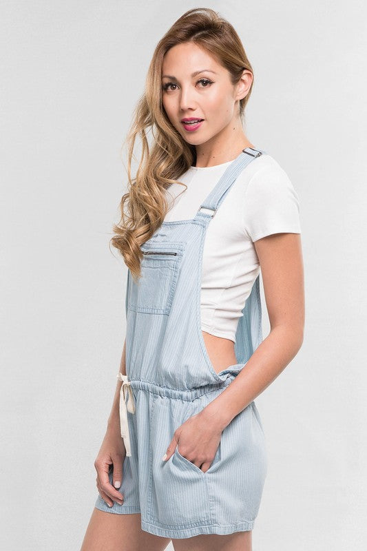 Tencel Overall Shorts - Blue Pinstripe