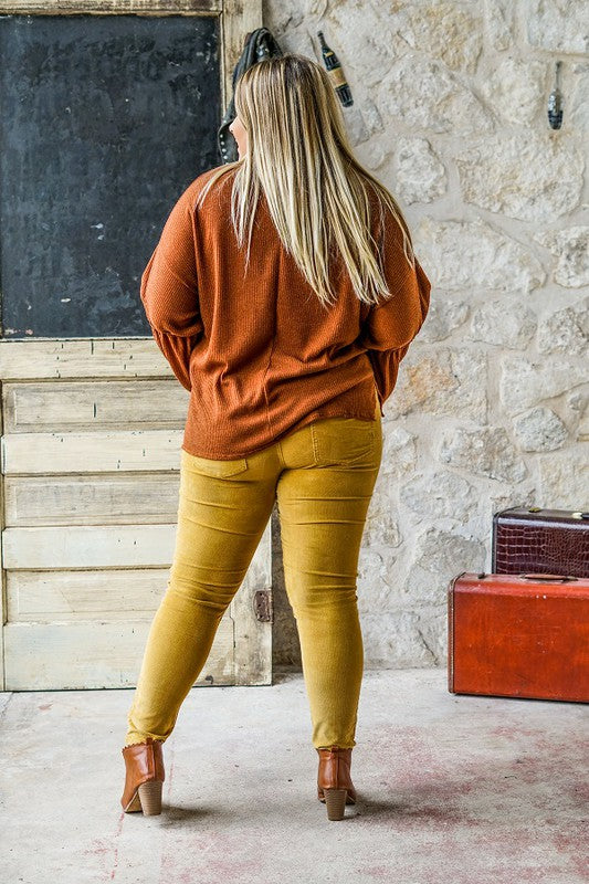 Plus Size Mid Rise Skinny Corduroy Pants - Mustard