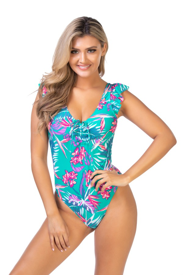 Green Floral One Piece Swimsuit