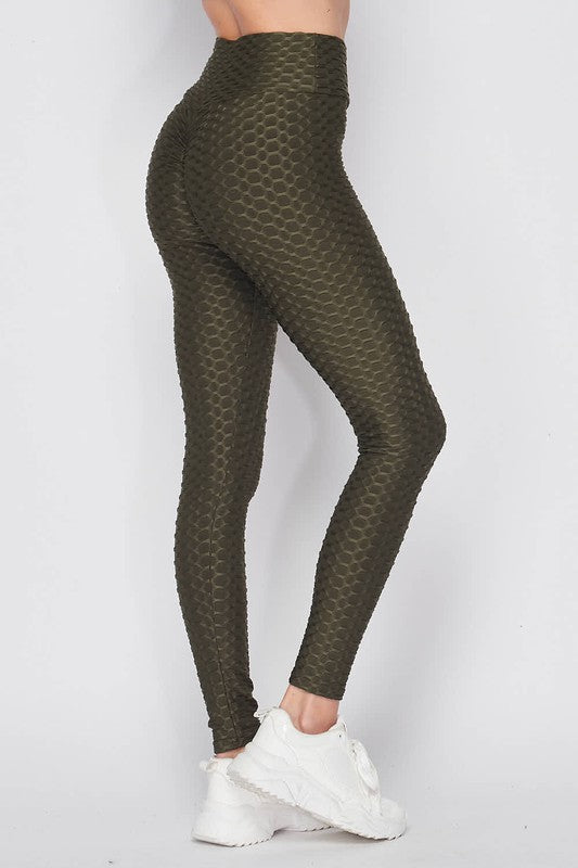 High Waist Luxury Scrunch Butt Lifting Leggings - Olive
