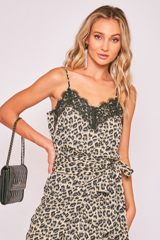 Lace Trim Cami Top Grey Leopard Print
