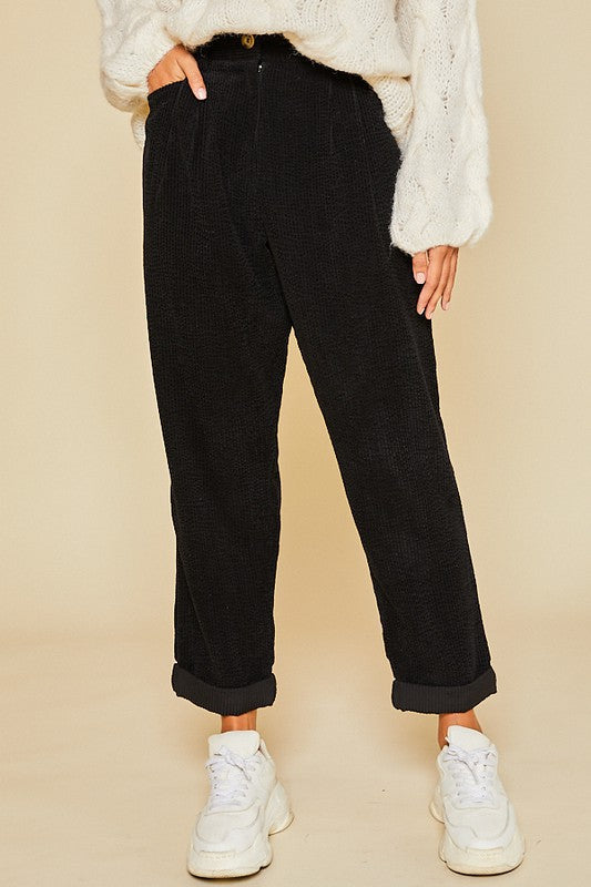 Corduroy Baggy Pants Black