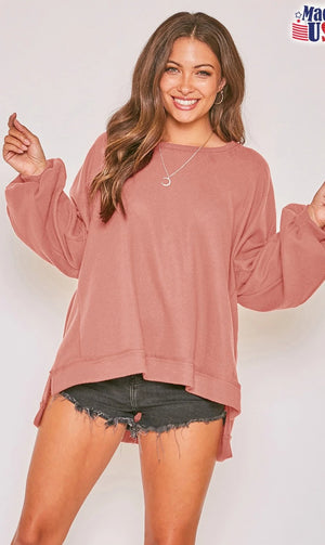 Open image in slideshow, Long Sleeve Solid Knit Loose Fit Sweatshirt