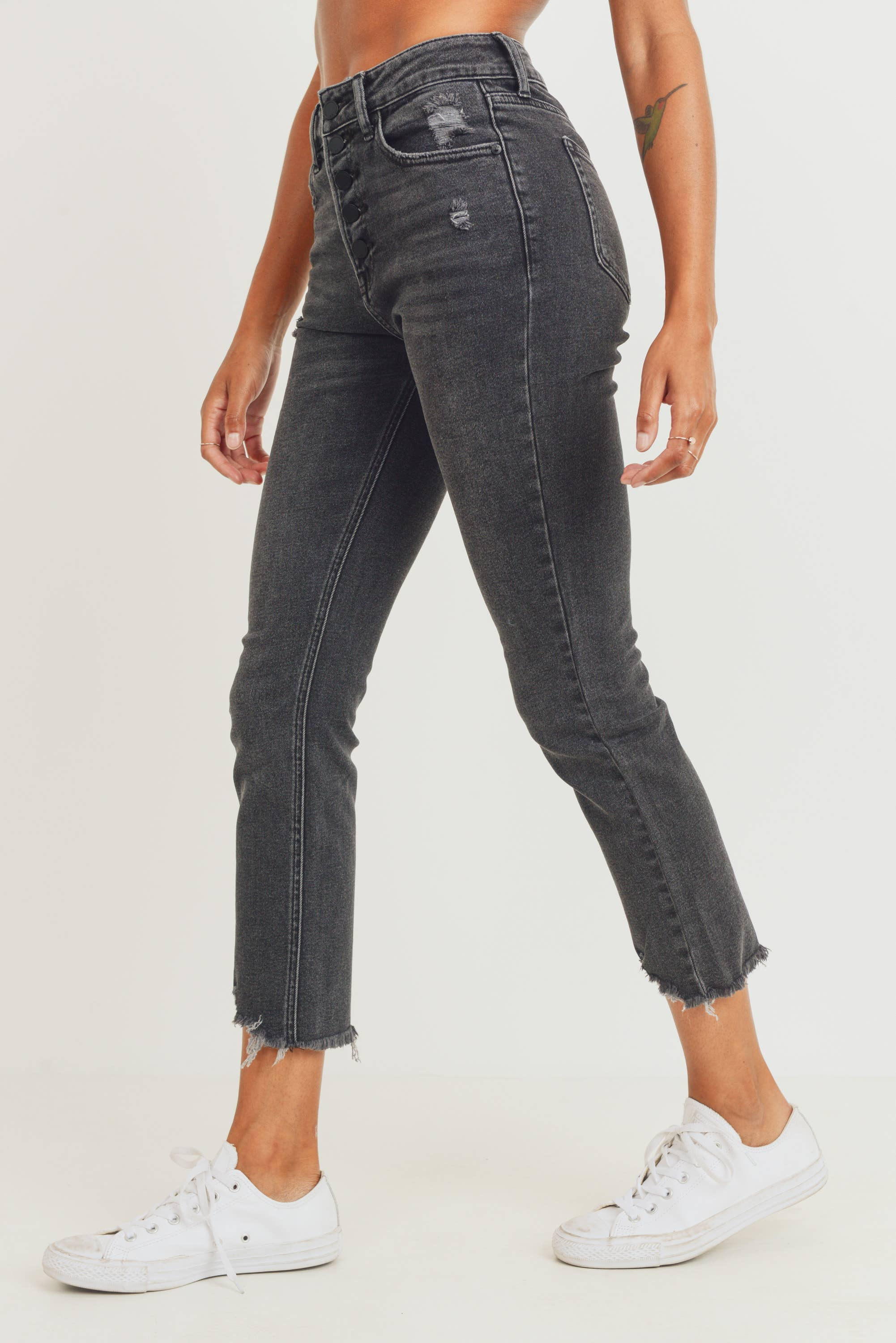 Button Down High Rise Straight Cropped Jean