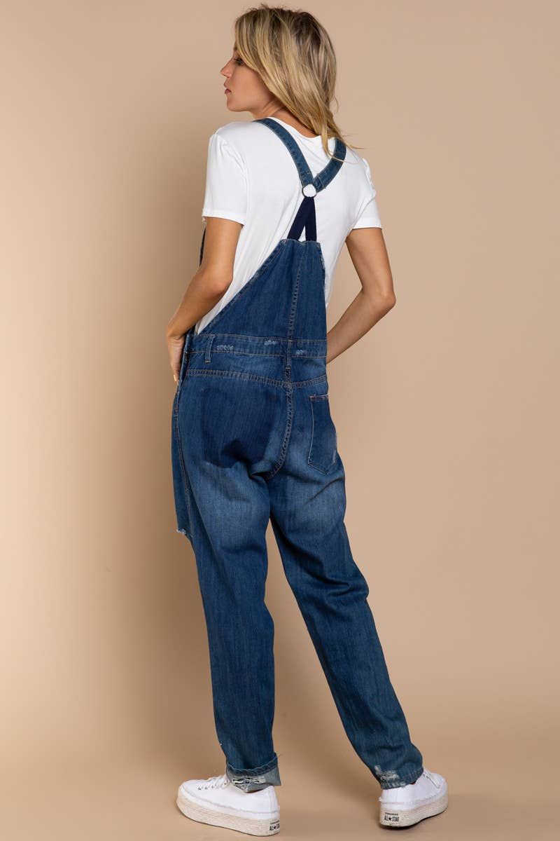 Distressed Wash Denim Overall Pants