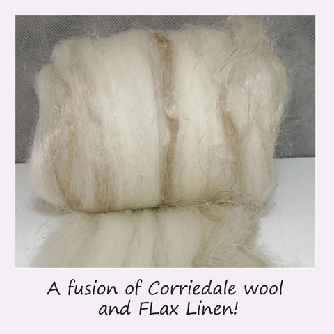 Corriedale Wool and Flax blended fibre top