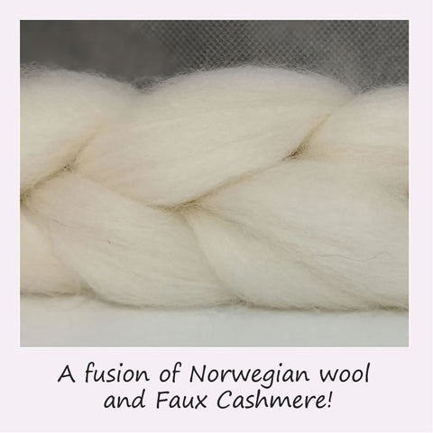 Norwegian Wool and Faux Cashmere blended fibre top
