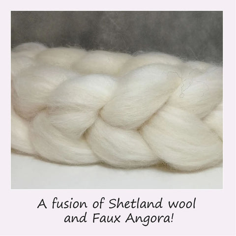 Shetland Wool and Faux Angora blended fibre top