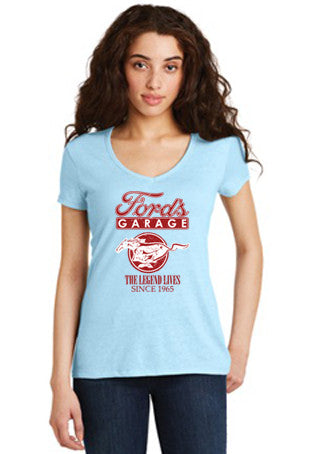 "LADIES ""THE LEGEND LIVES"" BLUE MUSTANG T SHIRT"