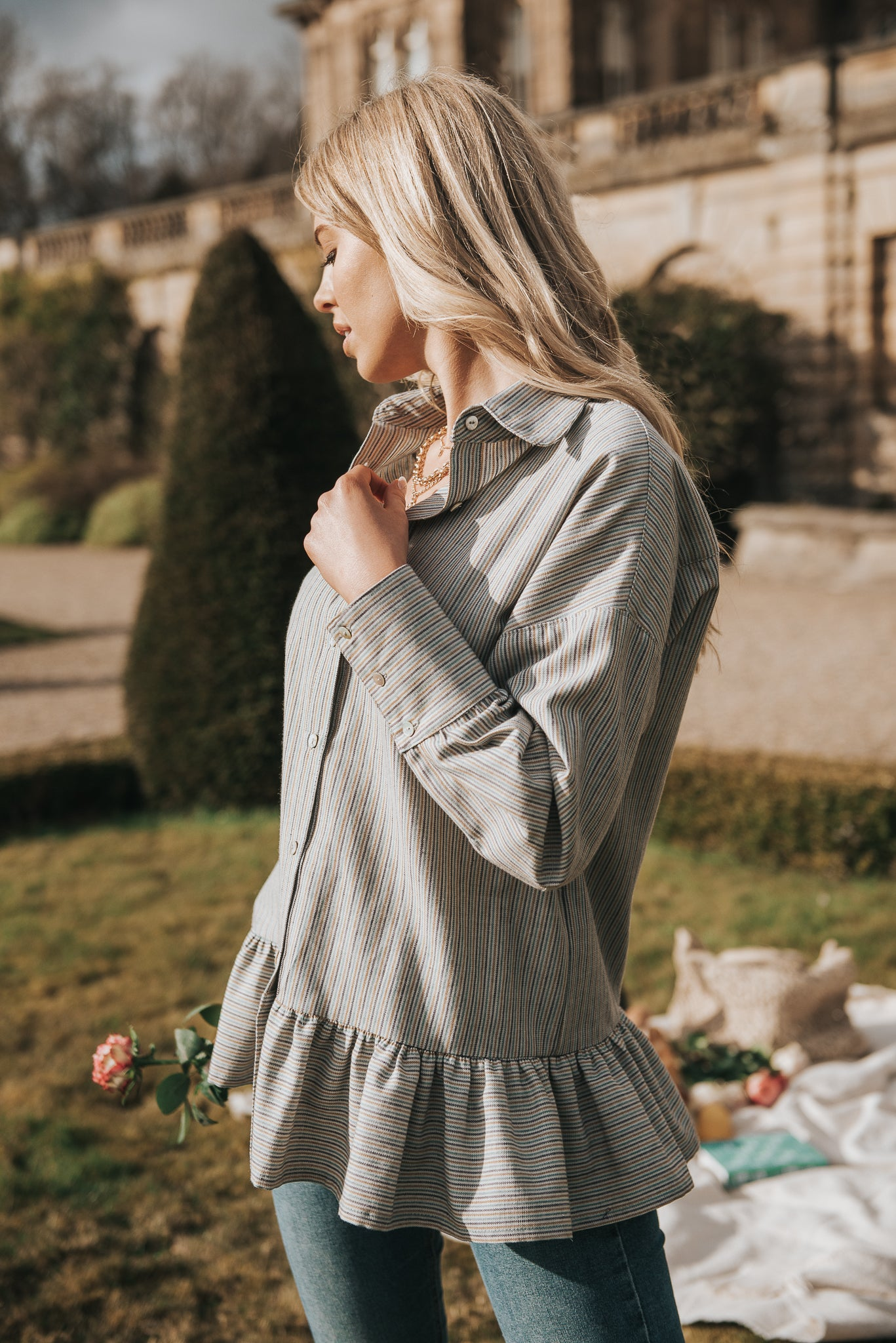 Margeaux shirt and Meadow Stripe fabric is the perfect combination. Our go to summer shirt, style with white skinny jeans and trainers for a cool girl day time vibe and a statement earring and chino on an evening - stunning