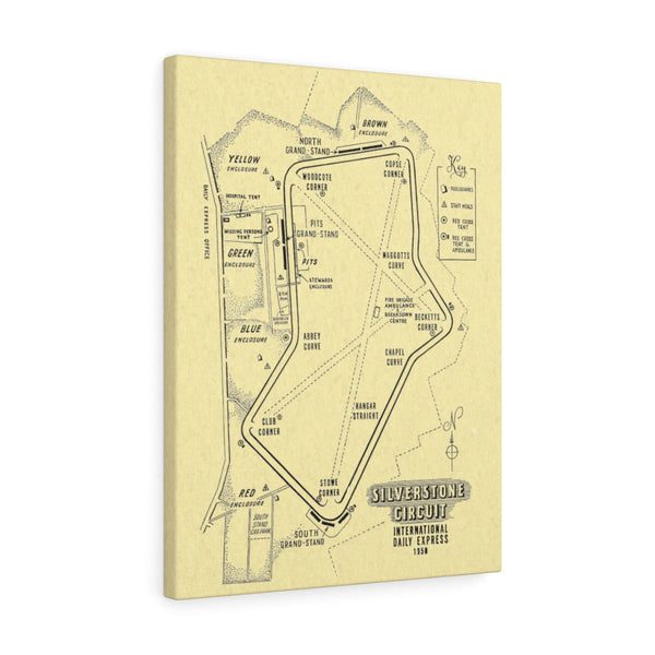 Silverstone Circuit Classic -1950 -  Road Track Race Course Map - Canvas Gallery Wrap