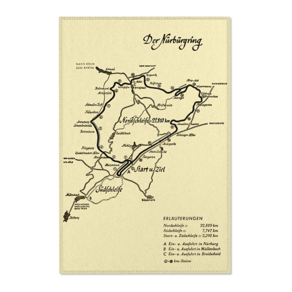 Nurburgring Classic Area Rug - Race Track Map Pre 1971