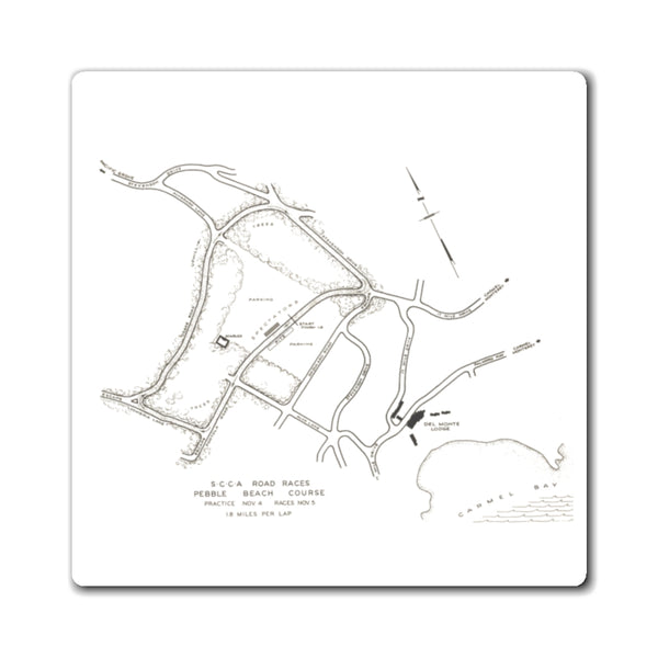 Pebble Beach Road Race Course Map - Classic - 1950 - Magnet