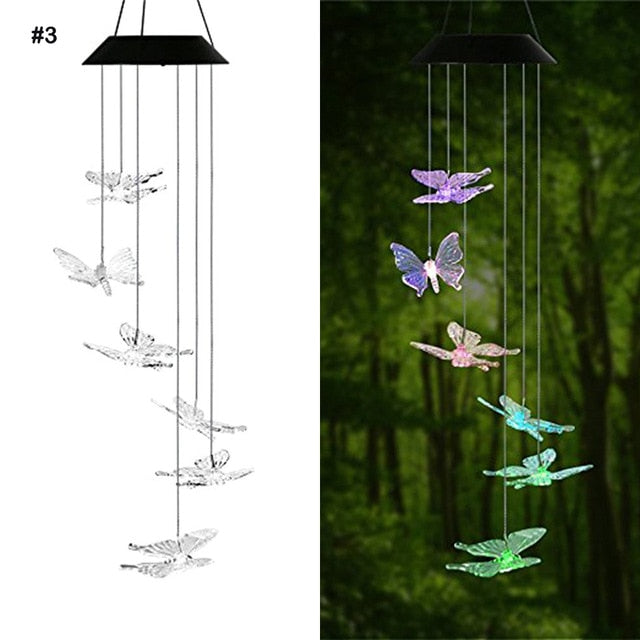 LED Solar Powered Butterfly Wind Chimes Light
