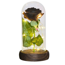 Load image into Gallery viewer, LED Light Beauty The Beast Artificial Eternal Rose In Glass Cover
