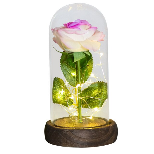 LED Light Beauty The Beast Artificial Eternal Rose In Glass Cover