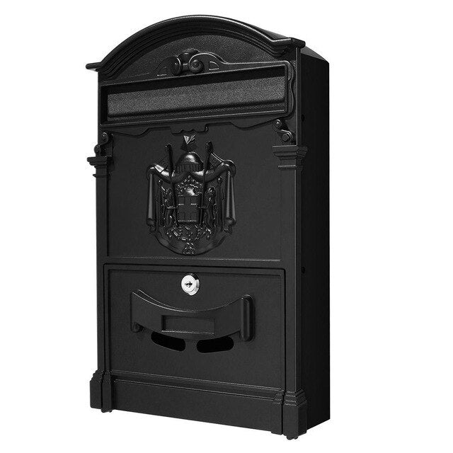 Large Retro Style Outdoor Lockable Secure Mail Letter Mailbox Vintage Metal Mail Box Garden Ornament