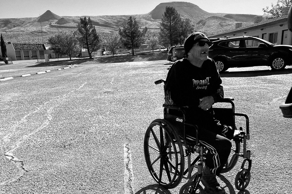 Desert Sammy in a wheelchair