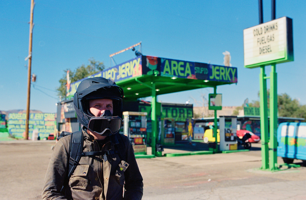Jared erickson in helmet - area 51 gas station