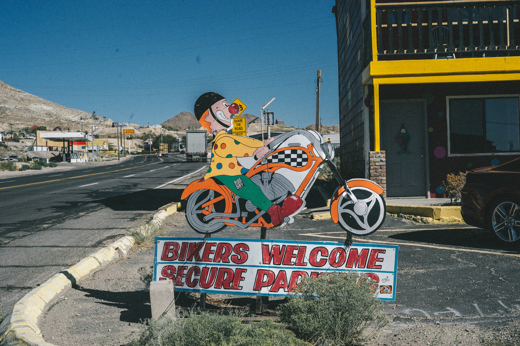 World famous Clown hotel - biker friendly sign