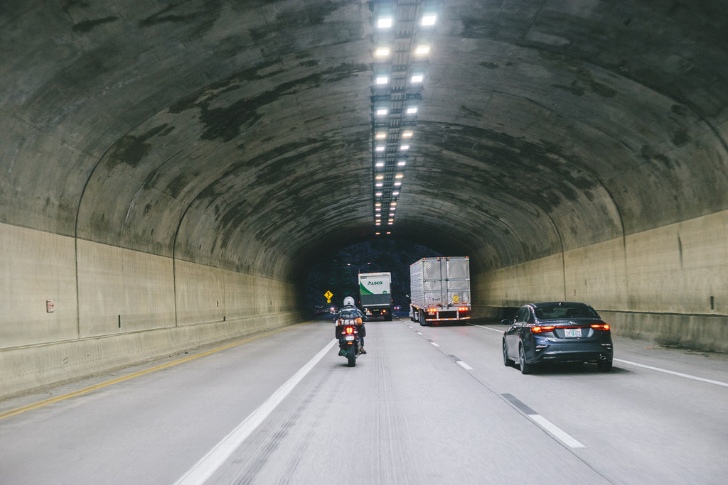 Riding through a tunnel