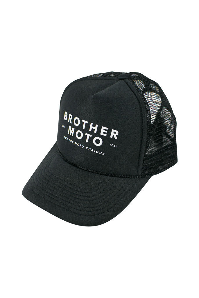 Moto Curious - Black Trucker - Motorcycle lifestyle goods Brother Moto - 1