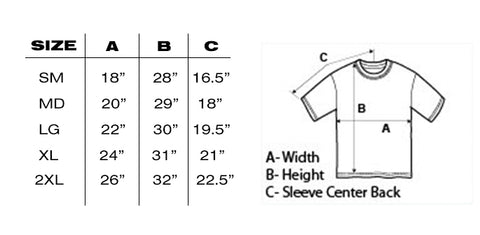 Brother Moto Gildan 5000 sizing chart