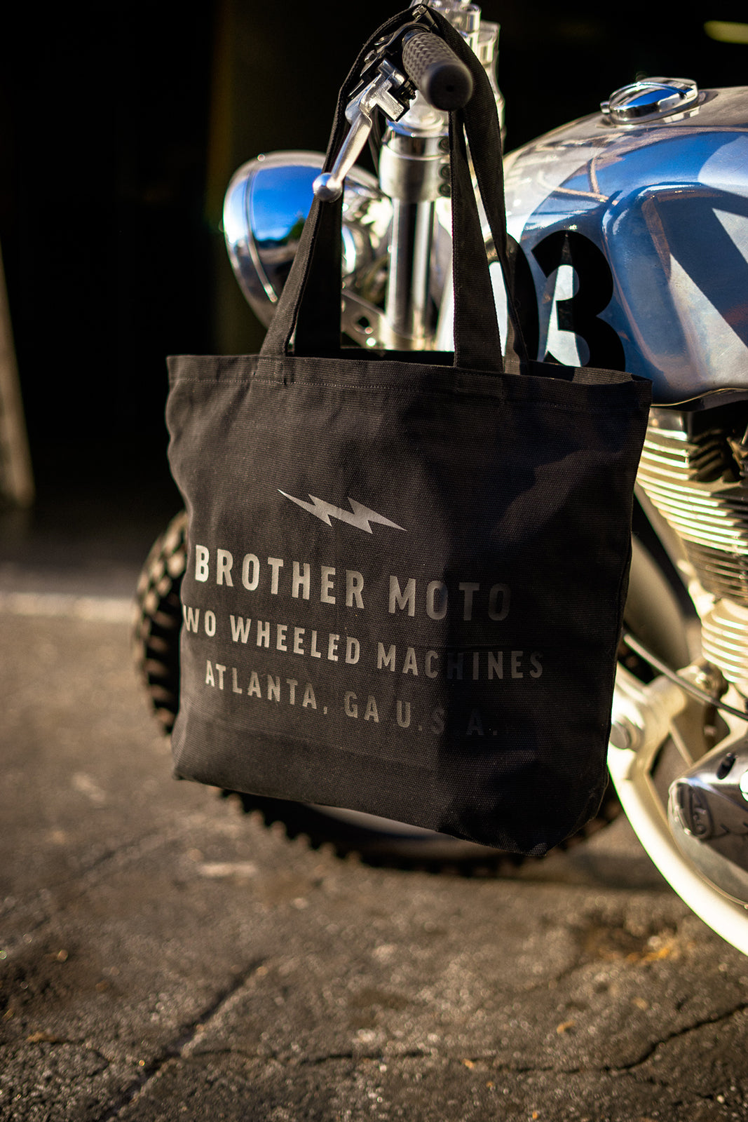 Brother Moto Black Tote bag - Royal enfield custom scrambler
