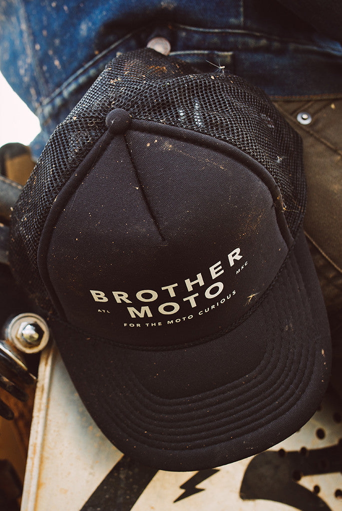 Moto Curious - Black Trucker - Motorcycle lifestyle goods Brother Moto - 2
