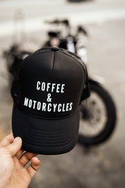 Coffee and Motorcycles - Black Trucker Hat