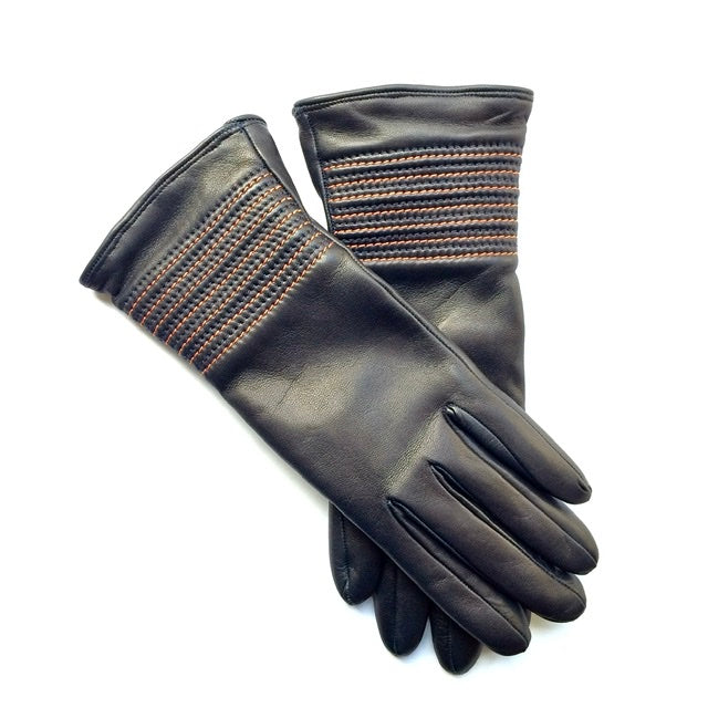 Cashmere lined leather gloves - Navy
