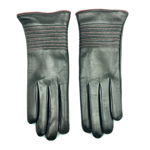 Cashmere lined leather gloves - Black/Pink