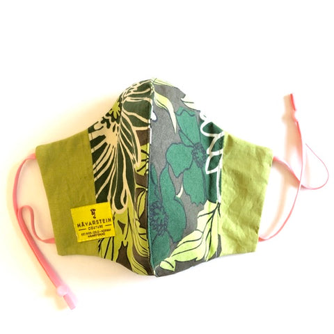 Eco friendly  reversible (4-layers) face mask botanical green LADY