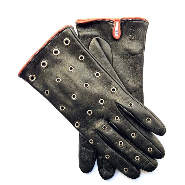 Silk lined leather gloves - Black