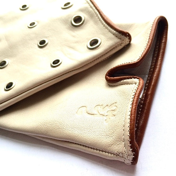 Silk lined leather gloves - Cream